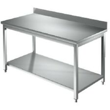 Tavolo 130x70x85 acciaio inox 304 su gambe ripiano alzatina ristorante RS6074