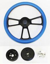 "Bronco F100 F150 F250 F350 Steering Wheel 14"" Sky Blue on Black Plain Cap"