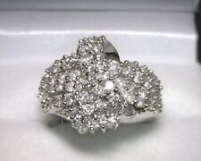 14K White Gold Diamond Cluster Ring 2.00 TCW Size 7