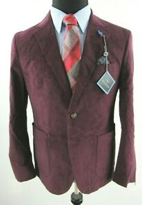 TAILORBYRD Stretch Burgundy Pin Dot Sport Coat Mens 40S 40 Casual $295