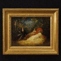 Dipinto quadro olio masonite scena romantica firmato stile antico impressionista