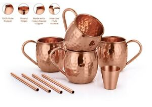 Set of 4 100% Pure Copper Moscow Mule Mugs 16 Oz Shot Glass and Copper Straws