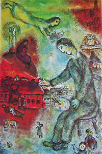 MARC CHAGALL - L'INSPIRATION - OFFSET LITHOGRAPH - 1977 - FREE SHIP IN US !!!