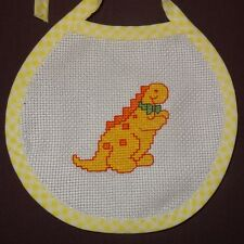 New Dinosaur Bow Tie Bib Baby girl boy unisex Handmade Finished Cross Stitch