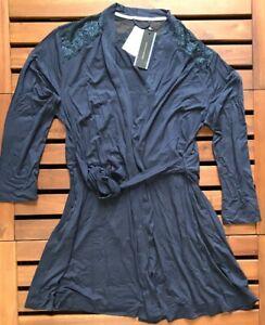 Tommy Hilfiger Womens Bianca Cotton Modal Robe - Medium - Blue - 1487905113-416
