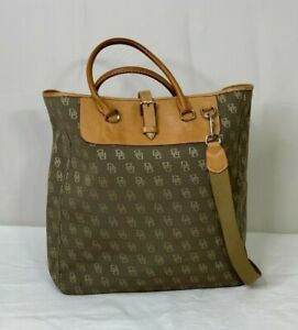 Dooney and Bourke Signature DB Logo Tan and Brown Leather Satchel Crossbody Tote
