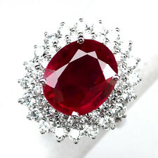 RUBY BLOOD RED OVAL 8.30 CT.SAPPHIRE 925 STERLING SILVER RING SZ 6.5 GIFT WOMEN