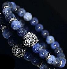 Men Women Natural Lava Agate Stone Round Beaded Luck Lucky Handmade Bracelet