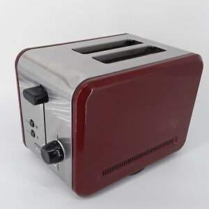 KitchenAid® Brushed Stainless Steel Red Enamel Two Wide Slot Toaster KMTT200GC0