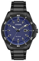 Citizen Eco-Drive Men's Blue Calendar Dial Black Bracelet 45mm Watch AW1585-55L