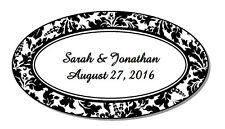 63 Personalized Damask Glossy Wedding Oval Favor Labels Stickers 2.5x1.375""