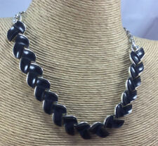 Lisner Vintage Necklace Thermoset Plastic Black Arrow Silver Metal Choker