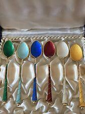 Beautiful Denmark Sterling Silver and Enamel Coffee Spoons