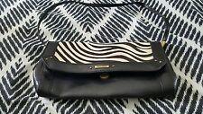 DIANA FERRARI Fur Skin Animal Print Leather Clutch shoulder bag Black Handbag