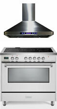 """Verona Vdfsee365W 36"""" Electric Range Convection Oven White With Hood 2 Pc Set"""