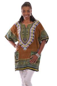 Bronze Brown Traditional African Print Dashiki top  DP3757W