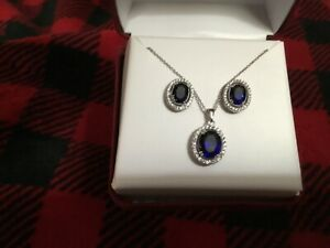 Sterling Blue Sapphire Necklace and Stud Earring Set