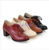 New Wing Tip Brogues Womens Lace Up Retro Block High Heels Casual Shoes Oxford