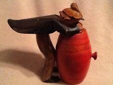 Anri Wood Carved Cigarette or Match Holder Tipped over a Barrel or Keg Vintage