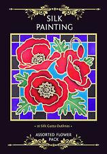 Silkcraft Silk Painting - Printed Gutta Outlines -Flowers-10 designs