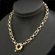 "16""- 4.5mm BELCHER Link BOLT RING Clasp 14k GOLD EP 16"" NECKLACE ~ NEW JEWELLERY"