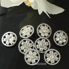 20 PCS 1.6 CM CLEAR RHINESTONE CIRCLE FLOWER CRYSTAL SILVER TONE SHANK BUTTONS