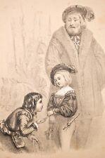 lithographie du XIX° Edouard VI enfant d'ap. Géniole, Challamel lithographe