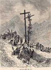 Antique print cruz de Mayo festival Colombia 1880