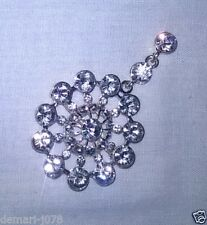 Crystal Diamante Silver Tone Round Fashion Brooch, With Pin, BNWT Unbranded
