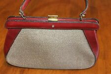 Vintage Etienne Aigner Handmade Handbag Oxbow Burgundy Leather & Fabric Purse C2