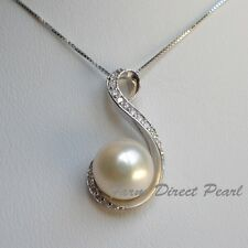"Genuine Huge 11mm White Pearl CZ Pendant Necklace 18"" #115 Cultured Freshwater"