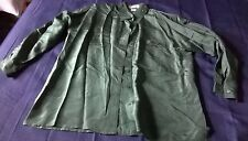 Woman's Silk Shirt Blouse 100% Point & Line Christmas Green Long Sleeves EUC!