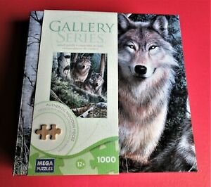 "Wood Puzzles NEW Watchful Eyes Wolves 1000 Piece 17-7/8"" x 22  Age 12 And Up"