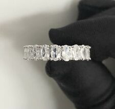 Oval Full Eternity Cubic Zirconia Sterling Silver Ring Size 5 / K