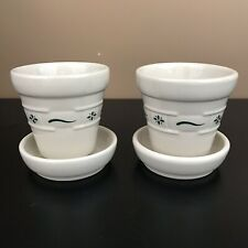 Longaberger Woven Traditions Heritage Green Set of 2 Small Flower Pots & Saucers