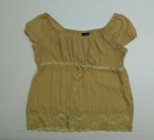 Mixit Womens Size XL Beige Gold Short Sleeve Top Shirt Great Condition