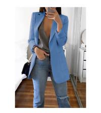 Women Slim Blazer Jacket Top Outwear Long Sleeve Career Formal Coat Lt. Blue 3XL