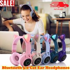 Portátil Inalámbrico Gato Auriculares Auriculares Bluetooth Headset LED Música Niños