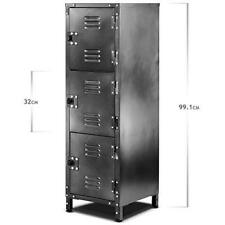 3-Door Slim Metal Locker Cabinet Storage Staff Home Office Work Lockable Gym NEW