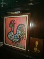 ART, ORIGINAL MANDALA ACRYLIC,  BY ROZANN, ROOSTER.   21X25 FRAMED, CANVAS 16X20