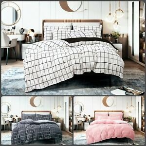 Teddy Fleece Reversible stripe Duvet Cover Set Fluffy Warm Cosy Bedding Sets