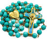 Saint Benedict Rosary Necklace Turquoise Beads St San Benito Cross & Heart Medal