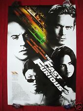 THE FAST AND THE FURIOUS * 2001 ORIGINAL MOVIE POSTER DS PAUL WALKER RACING NM-M