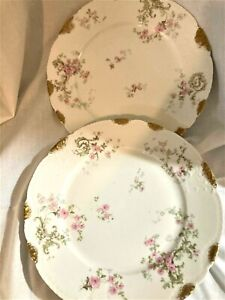 "PAIR HAVILAND LIMOGES PINK ROSES & GOLD 10.0"" PLATES"
