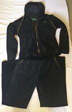 RALPH LAUREN Black Velour Hooded Sweatsuit Jacket- Size Large- Pant- Size Medium