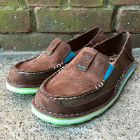 ARIAT WOMEN'S PALM CRUISER BROWN/TURQUOISE SLIP-ON SHOE 10017457  CUTE & COMFY!!
