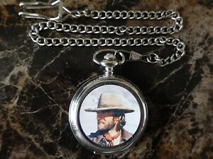 CLINT EASTWOOD (OUTLAW JOSEY WALES) CHROME POCKET WATCH WITH CHAIN (NEW)