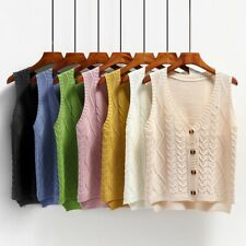Lady Knit Vest Jumper Sweater Cardigan Button Sleeveless Top Knitwear Casual