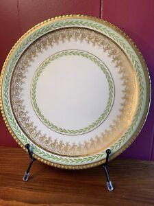 George Borgfeldt Coronet Limoges Gold Scrolls & Green Laurel Leaf Plate 1906-20