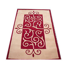 Modern thick red beige swirls wool pile designer living lounge rug (4'11x7'11FT)